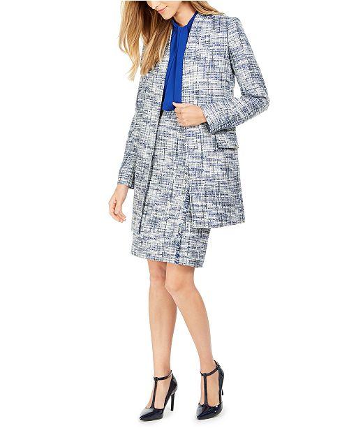 Calvin Klein Tweed Jacket, Tie-Neck Blouse & Pencil Skirt