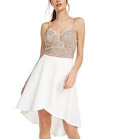 Juniors' Lace-Top High-Low Dress