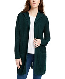 Juniors' Lace-Up-Back Hooded Cardigan