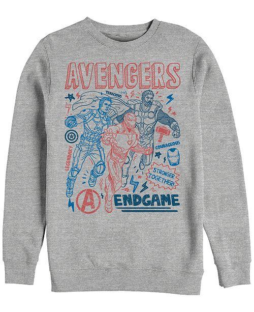 Marvel Men's Avengers Endgame Stronger Together Doodle Sketch, Crewneck Fleece