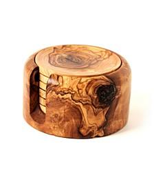 Olive Wood Coaster Set of 6 with Holder