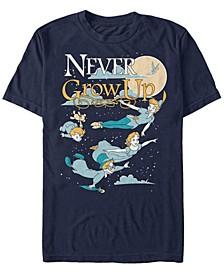 Men's Peter Pan Group Shot Never Grow Up Night Portrait, Short Sleeve T-Shirt
