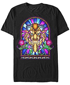 Men's Beauty and the Beast Stained Glass Window, Short Sleeve T-Shirt