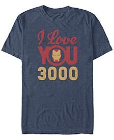 Men's Avengers Endgame Iron Man Face I Love You 3000, Short Sleeve T-shirt