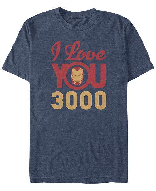 Marvel Men's Avengers Endgame Iron Man Face I Love You 3000, Short Sleeve T-shirt