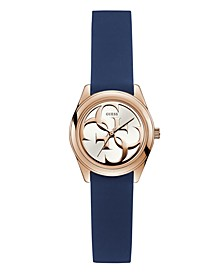Women's Petite Rose Gold-Tone and Blue Silicone Logo Watch, 28mm