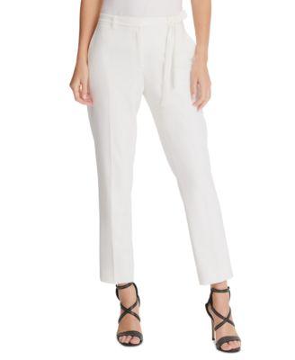 Petite Belted Straight-Leg Pants