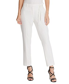Petite Belted Straight-Leg Pants
