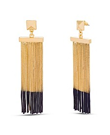 Two Tone Snake Chain Fringe Dangle Post Earring