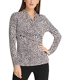 Cheetah-Print Surplice-Neck Top