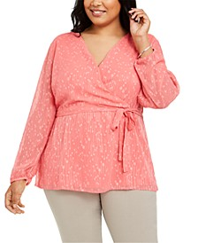 Plus Size Textured Wrap Blouse, Created for Macy's