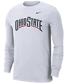 Men's Ohio State Buckeyes Dri-FIT Cotton Wordmark Long Sleeve T-Shirt