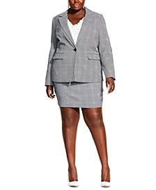 Plus Size Plaid Single-Button Blazer