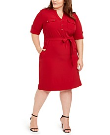 Plus Size Belted Utility Shirtdress