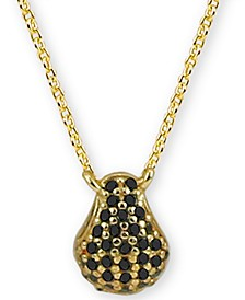 "Black Cubic Zirconia Teardrop 18"" Pendant Necklace in 18k Gold-Plated Sterling Silver"