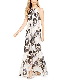 Floral Draped Halter Gown