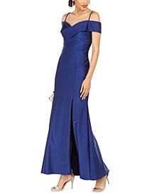 Off-The-Shoulder Sateen Slit Gown