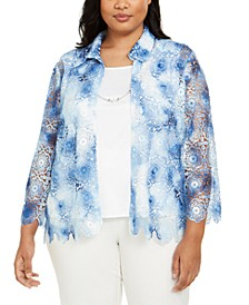 Plus Size Pearls of Wisdom Tie-Dyed Layered Top