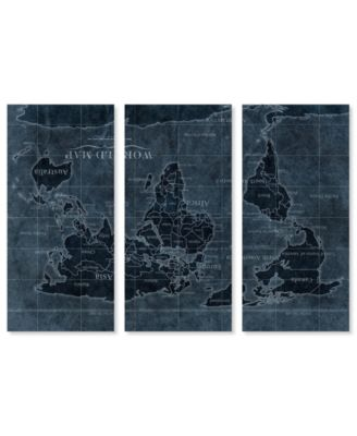 Upside-Down Map of The World Noir Triptych Canvas Art, 17