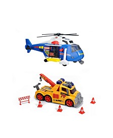 Majorette Action Series Bundle Helicopter Tow Truck