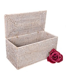 Rattan Rectangular Double Tissue Roll Box with Lid