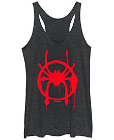 Marvel Women's Spider verse Miles Symbol Tag Tri-Blend Tank Top