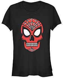 Marvel Women's Spider Man Sugar Skull Short Sleeve Tee Shirt