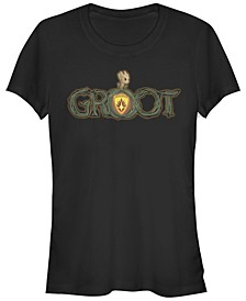 Marvel Women's Groot Halloween Pumpkin Logo Short Sleeve Tee Shirt