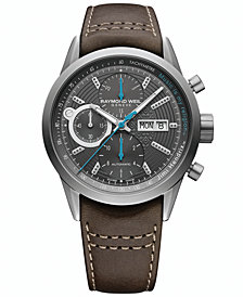 RAYMOND WEIL Men's Swiss Automatic Chronograph Freelancer Brown Leather Strap Watch 42mm - Jimi Hendrix Limited Edition