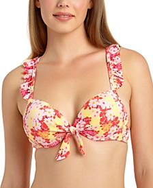 Juniors' Floral-Print Ruffled Underwire Push-Up Bikini Top, Available in D/DD, Created for Macy's