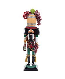 18.9-Inch Hollywood Wine Barrel Hat Nutcracker