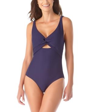 Textured Twist-Front One-Piece Swimsuit Women's Swimsuit