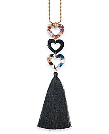 "INC Gold-Tone Resin Heart & Tassel Pendant Necklace, 30"" + 3"" extender, Created for Macy's"