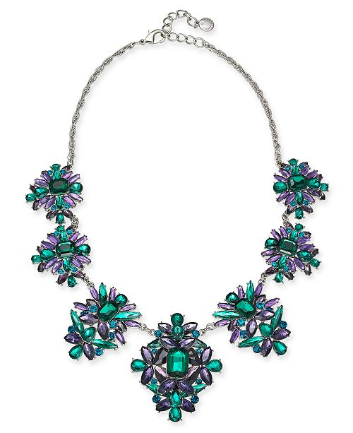 "Charter Club Silver-Tone Stone Cluster Statement Necklace, 17"" + 2"" extender, Created For Macy's"