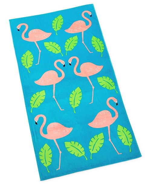 Martha Stewart Collection Flamingo Beach Towel, Created For Macy's