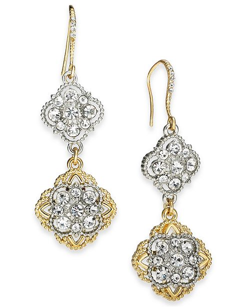 Charter Club Two-Tone Crystal Palazzo Linear Earrings, Created For Macy's