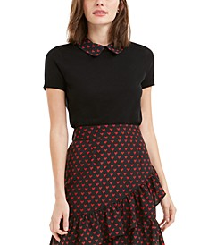Contrast-Print Collar Top, Created For Macy's