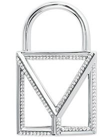 Custom Kors Sterling Silver Pavé Oversize Open Padlock Charm