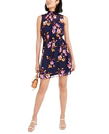 Floral Printed Mock-Neck Mini Dress, Created For Macy's