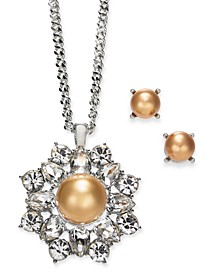 """Silver-Tone Imitation Pearl Pendant Necklace & Stud Earrings Boxed Set, 17"""" + 2"""" extender, Created for Macy's"""