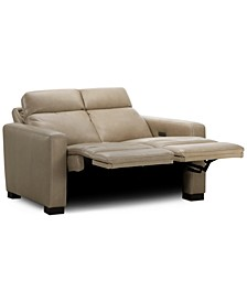 "Hayvon 61"" Leather Dual Power Loveseat"