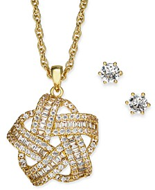 2-Pc. Gold-Tone Set Crystal Baguette Knot Pendant Necklace & Crystal Stud Earrings, Created for Macy's