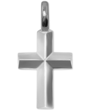 Mini Cross Charm Pendant in Sterling Silver