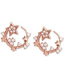 "Small Swarovski Crystal Celestial Swirl Front & Back Hoop Earrings, 0.6"""