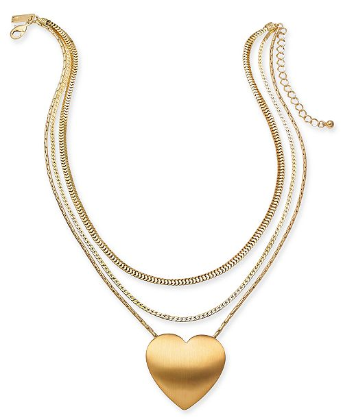 "INC International Concepts INC Gold-Tone Heart Layered Pendant Necklace, 17"" + 3"" extender, Created For Macy's"