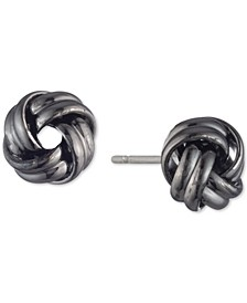 Hematite-Tone Knot Stud Earrings