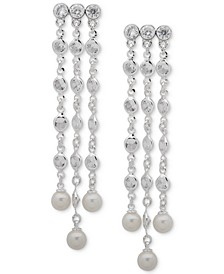 Silver-Tone Crystal & Imitation Pearl Chandelier Earrings