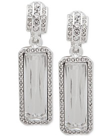 Silver-Tone Crystal Clip-On Drop Earrings