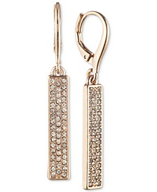 Rose Gold-Tone Crystal Linear Bar Earrings