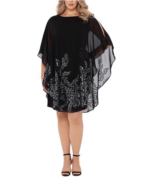 XSCAPE Plus Size Embellished Overlay Sheath Dress